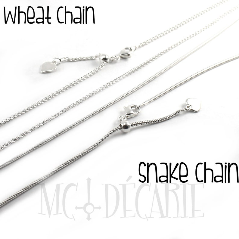 AJUSTABLE Snake OR wheat chain in solid sterling silver image 0