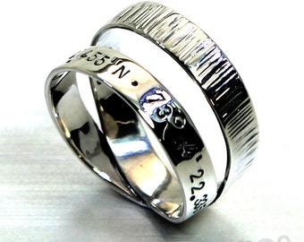 Personalised loop ring with longitude latitude engraved and hammered texture, Sterling silver. #J133