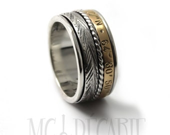 Silver and gold meditation ring, Meditation ring for women, Anxiety ring spinner, Spinner ring anxiety, Gold spinner ring, 12mm wide  #JC217