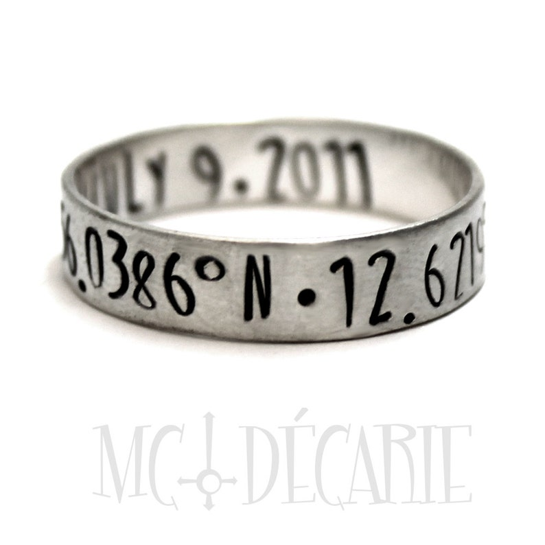 coordinate ring Ring band 6 mm with 2 engravings included latitude longitude ring personalized ring band stamped gps ring #J156