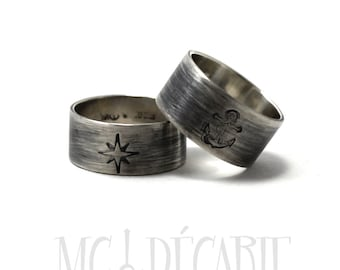 His and Hers: 8-9 mm ring band set, 2 engravings/texture per each ring, 2 ring band set, wedding rings, wedding band, personalized. #EJ102