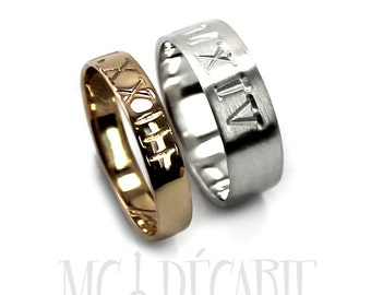 His and Hers 6mm - 4mm rings set 10K solid white gold and yellow gold, 2 engravings included on each ring, wedding ring set, wedding. #EJ135