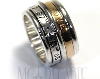 Meditation ring for women, Spinner ring gold, Silver and gold spinner ring, Anxiety ring spinner, 13mm wide  #JC240