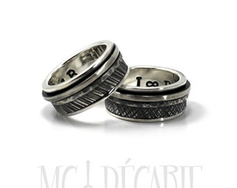 His and hers spinner ring set in silver, two textured wedding ring set, coordinate ring, can be personalized, promise ring. #EJ125