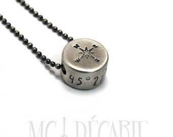 Compas necklace, small round pendent with coordinates, coordinates necklace for men, thick round pendant, solid sterling silver, gift. #H117