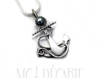 Anchor Necklace Pendant with Freshwater Perl twisted wire, Sterling Silver, anchor pendant, nautical necklace, gift, nautical gift. #PA141