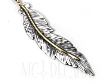 Unique Feather pendent 60mm, handmade feather necklace, solid sterling silver, 10k solid gold wire, each feather is unique, #P111