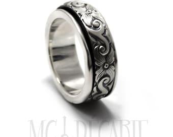 Spinner ring for women, Spinner ring men, Anxiety ring silver, anxiety ring spinner, Spinner ring sterling silver, 9mm wide #JC131