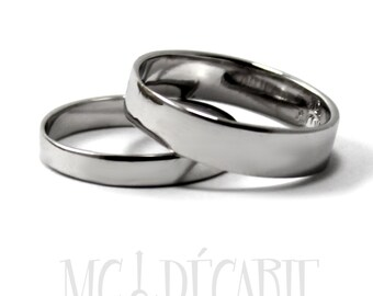10k gold His and Hers rings 5mm - 3mm rings set 10K solid white gold, 2 engravings included on each rings, personalized ring wedding. #EJ174