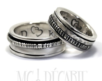 His & hers spinner ring set in silver, couple ring set, unisex sterling silver personalized, engraving, wedding bands,promise ring. #EJ124