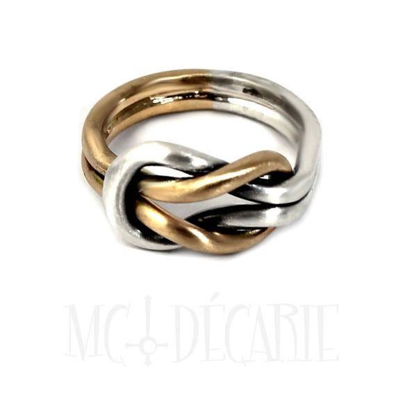 wedding ring double knot ring in solid gold thick knot ring #B116 engraving space Chunky silver and 10k gold double reef knot ring