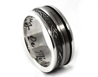 Silver spinner ring, Spinner ring men, Anxiety ring silver, anxiety ring spinner, 9mm wide #JC124