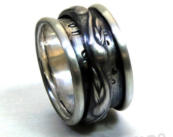 Spinner ring men, Anxiety ring silver, meditation ring for women, anxiety ring spinner, Spinner ring sterling silver, 12mm wide #JC116