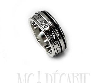 Spinner ring for women or men, meditation ring in silver, meditation ring for women,  anxiety ring, coordinates silver ring, 9mm wide #JC125