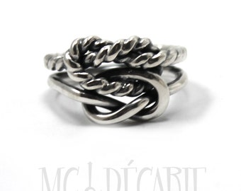Chunky double knot ring, one twisted textured wire, sterling silver, cable wire, sailor ring, silver ring, thick knot ring double knot.#B143