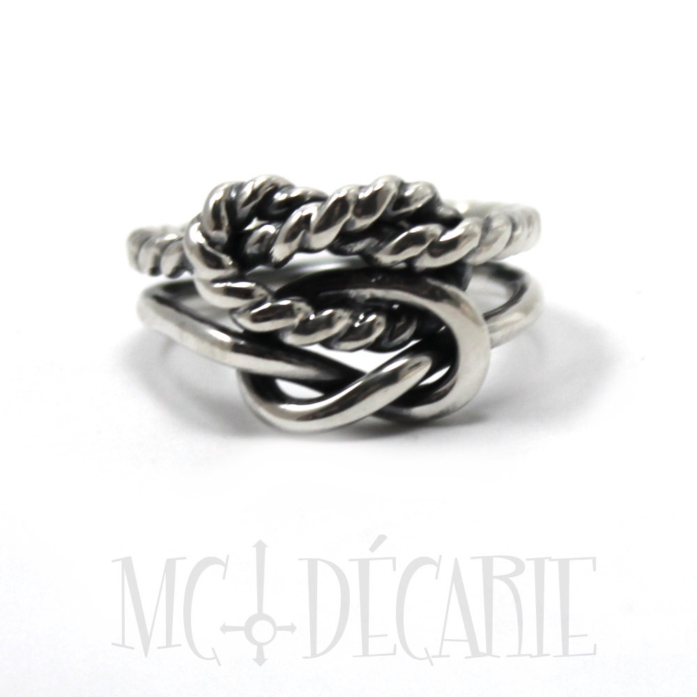 Chunky double knot ring, one twisted textured wire, sterling silver ...