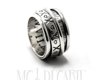 Spinner ring for women, Spinner ring men, Anxiety ring silver, meditation ring for men, Spinner ring sterling silver, 14mm wide #JC140