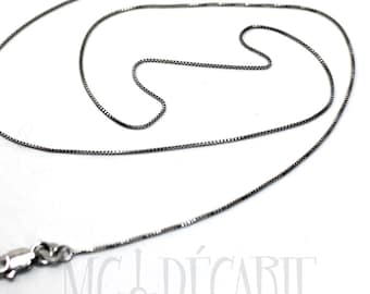 """Box chain 0.6mm RHODIUM plated, solid sterling silver ultra fine chain plated with rhodium, will not tarnish, 16"""" 18"""" or 20"""" length. #C105"""