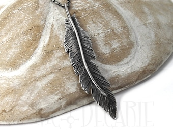 Unique Feather pendent 60mm, handmade feather necklace, solid sterling silver, each feather is unique, #P101
