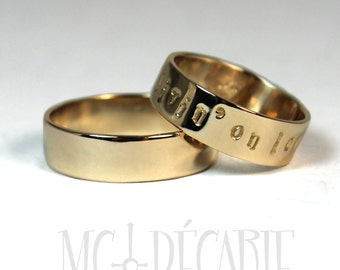 His and Hers 6mm rings set; 10K solid gold Ring band 6mm (1/4'') wide 2 engravings included, personalized coordinate ring weeding. #EJ183