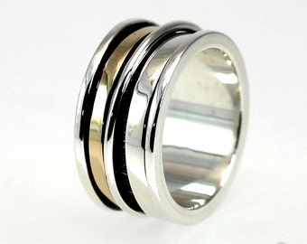 Gold spinner ring, Meditation ring gold, Gold spinner ring, Anxiety ring silver, Anxiety ring spinner, 12mm wide #JC206