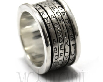 Cryptex jewelry, Spinner ring men, Anxiety ring silver, Puzzle ring, meditation ring for men, Spinner ring sterling silver, 13mm wide