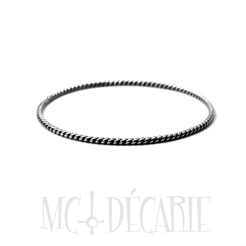 nautical bangle twisted round wire 2mm thick gift for her #BA128 Handmade solid sterling silver bangle BANGLE Silver twisted wire