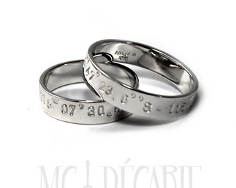 10k gold His and Hers rings 5mm - 5mm rings set 10K solid white gold, 2 engravings included on each rings, personalized ring wedding. #1EJ49