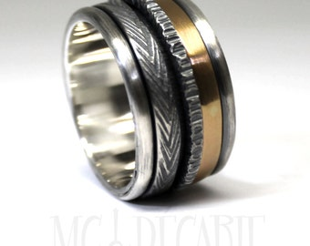 Spinner ring 13mm; 3mm 10k gold band and 2 silver spinners, one round and one 3mm, READY TO GO