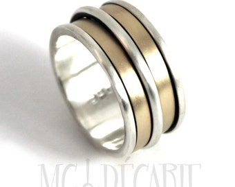 Gold spinner ring, Silver and gold meditation ring, Anxiety ring silver, Gold spinner ring, 13mm wide #JC247
