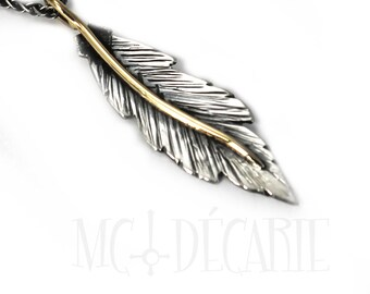 Unique Feather pendent 35mm, handmade feather necklace, solid sterling silver, 10k solid gold wire, each feather is unique, #P113