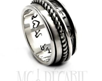 Silver spinner ring, Spinner ring men, meditation ring for men, meditation ring for women, spinner ring, silver ring band, 13mm wide #JC127