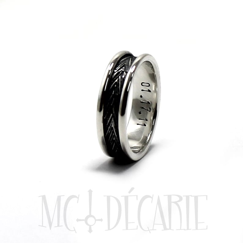 sterling silver ring one engraving also included inside #J117 personalized ring for men outside Textured ring band 7mm wide