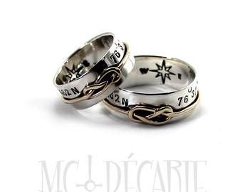 His & Hers: gold 8 knot, 8 mm rings; 1mm wire of 10k gold, 2 engravings or texture included for each ring, wedding rings, engagement. #EJ123