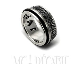 Spinner ring men, meditation ring for men, Spinner ring sterling silver, Silver spinner ring, silver ring band, 10 mm wide #JC119