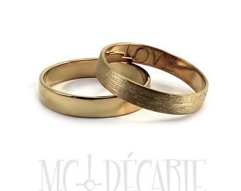 His and Hers rings; two 4mm rings set 10K solid yellow gold, 2 engravings included, personalized coordinate ring wedding band. #EJ110