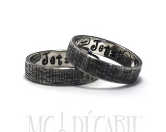His and Hers: two 5mm ring band with textures on each ring and 2 more engravings included inside each ring, promise rings, rings set. #EJ131