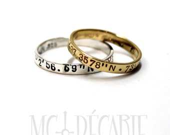 His & Hers rings set; 1 in 10K solid gold and 1 in silver, 2 Rings band 3mm (1/8'') wide, personalized coordinate ring wedding band. #EJ134