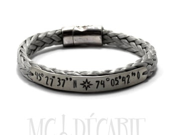 Spectra rope Personalized bracelet with a sterling silver plate, longitude latitude engraved, coordinate bracelet, id, medical. #BC105