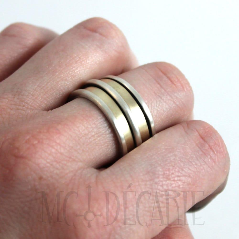 Spinner ring 13mm; 2x 3mm gold spinner, total 3 spinner; 10k gold ...