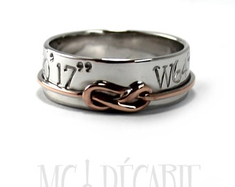 Knot ring band silver or white gold with rose gold knot; sailor wedding band, 8 knot 10k rose gold, rhodium silver or 10k White gold. #J120