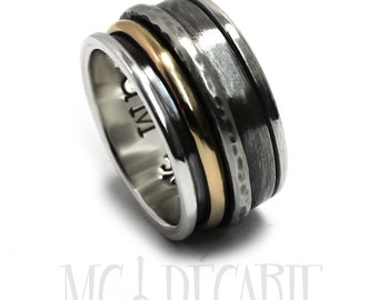 Silver and gold spinner, Silver and gold meditation ring, Silver and gold spinner ring, Anxiety ring, oxidized ring, 13mm wide   #JC225