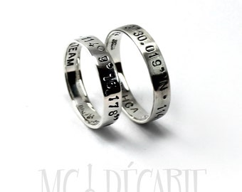 His and Hers: two 4mm ring band set, 2 engravings included on each ring, 2 ring band set, wedding rings, wedding band, personalized. #EJ140
