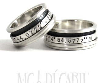 His and hers 2 spinner ring set in silver, wedding ring set, unisex sterling silver personalized with engraving, coordinates rings. #EJ103