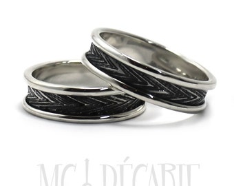 His and Hers: two textured bands, 2 engravings or textures included on each ring, wedding bands, promise rings, anniversary ring