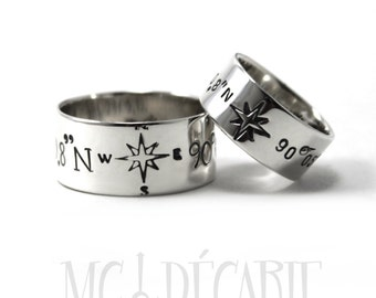 His and Hers: 8 mm - 10 mm ring band set, 2 engravings per ring, 2 ring band set, wedding rings, wedding band, personalized ring. #EJ156