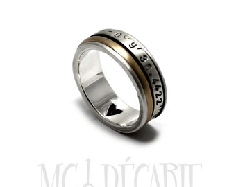 Silver and gold spinner, Anxiety ring silver, Silver and gold meditation ring, Spinner ring gold, Gold spinner ring, 8mm wide   #JC207