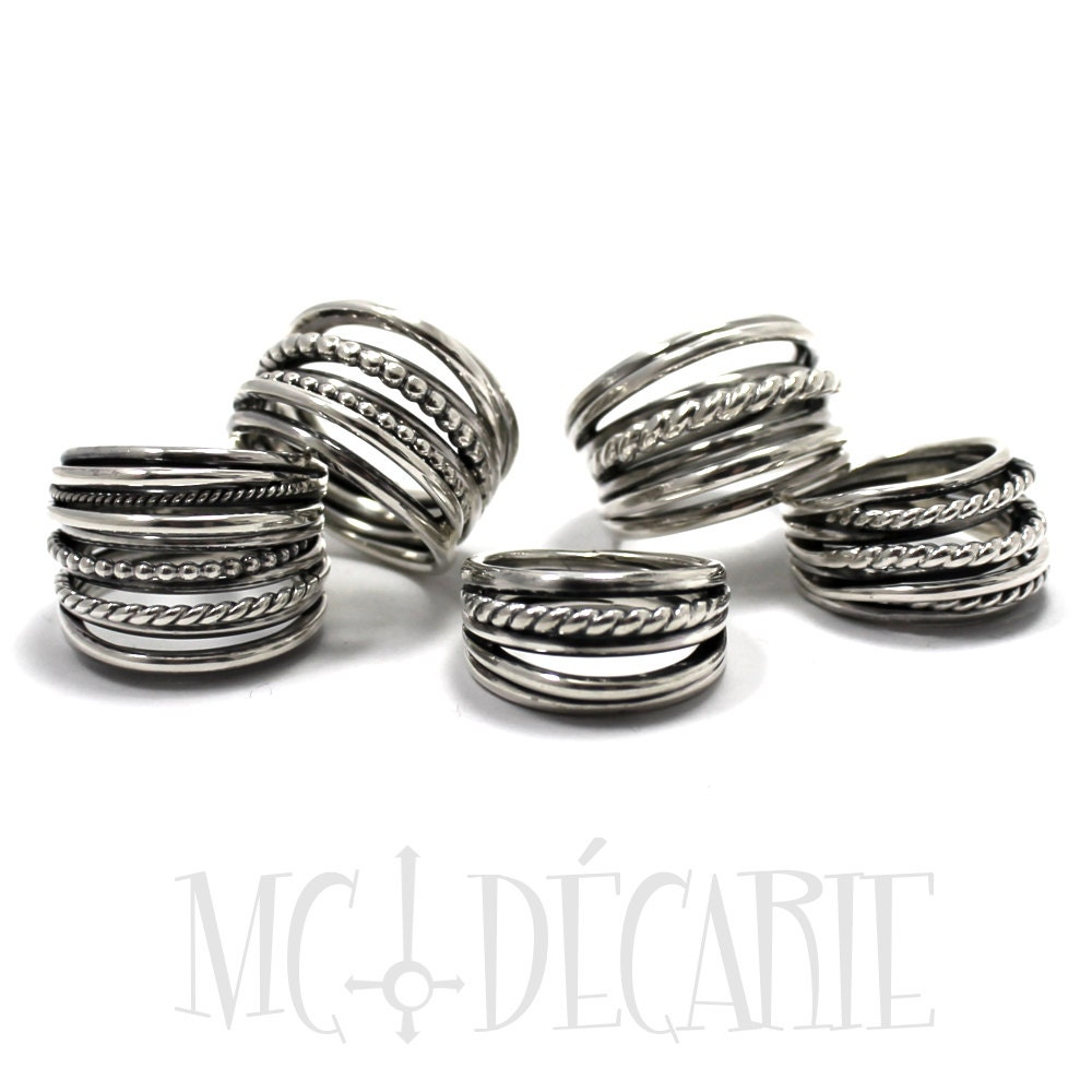 Voluminous silver Ring with multiples Twisted Wire in Sterling ...