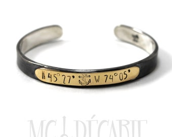 Cuff bracelet 10k solid gold and silver 8mm x 2mm coordinates cuff , longitude latitude bracelet, gps, READY TO GO