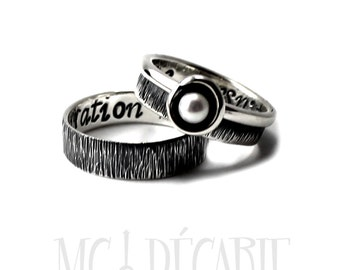 His and Hers: two textured bands, one with a pearl, 2 engravings included on each ring, wedding bands, promise rings